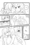 !? 2girls bean_bag_chair blush closed_eyes comic facing_another flying_sweatdrops frown greyscale half-closed_eyes heart kiss kuma_(bloodycolor) lips long_hair long_sleeves looking_at_another love_live! love_live!_school_idol_project monochrome multiple_girls nishikino_maki open_mouth pointing pointing_at_self silent_comic sitting smile sonoda_umi spoken_interrobang tomato yuri