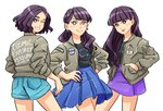 3girls absurdres ass a~chan bangs black_nails black_shirt blue_shorts blue_skirt blush brown_jacket clenched_teeth commentary_request grin hand_in_pocket hands_on_hips high-waist_skirt highres jacket kashiyuka long_hair long_sleeves looking_back looking_to_the_side multiple_girls nail_polish nocchi_(perfume) open_clothes open_jacket pencil_skirt perfume pleated_skirt pocket purple_hair purple_skirt radiation_symbol shirt short_hair shorts simple_background skirt sleeves_pushed_up smile star star-shaped_pupils stephanie_shih symbol-shaped_pupils teeth white_background