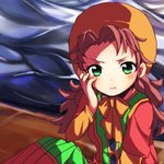1girl :i :t blush breasts closed_mouth commentary_request curly_hair dragon_quest dragon_quest_vii dress green_eyes hat hood long_hair looking_at_viewer maribel_(dq7) red_hair solo