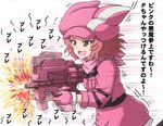 1girl afterimage animal_ears animal_hat brown_eyes bullpup bunny_ears commentary cosplay firing girls_und_panzer gloves gun hat highres holding holding_weapon jacket llenn_(sao) llenn_(sao)_(cosplay) long_sleeves medium_hair motion_blur motion_lines omachi_(slabco) open_mouth p-chan_(p-90) p90 pink_gloves pink_headwear pink_jacket pink_scarf red_hair rosehip running scarf smile solo stand standing submachine_gun sword_art_online sword_art_online_alternative:_gun_gale_online translated weapon
