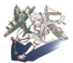 1girl ahoge aircraft airplane akitsushima_(kantai_collection) anchor armpits flying_boat green_skirt hair_ribbon kantai_collection karasu_(naoshow357) long_hair machinery nishikitaitei-chan open_mouth outstretched_arms pleated_skirt purple_eyes purple_hair ribbon shadow side_ponytail sidelocks skirt spread_arms thighhighs white_legwear