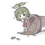 1girl ascot bad_id bad_pixiv_id chibi flower green_hair kazami_yuuka leaf long_sleeves looking_at_viewer minigirl plaid plant pot red_eyes seed short_hair solo sparkle sprout sprout_on_head touhou yuasan
