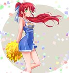 1girl :o arms_behind_back bare_arms bare_legs bare_shoulders blue_dress blush breasts cheerleader confetti cropped_legs dress eyebrows_visible_through_hair floating_hair from_side green_eyes hair_ribbon highres holding iesupa leg_up long_hair looking_at_viewer looking_to_the_side parted_lips pom_poms ponytail pyrrha_nikos red_hair ribbon rwby sleeveless sleeveless_dress small_breasts solo standing standing_on_one_leg two-tone_background very_long_hair white_ribbon