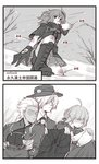 2boys 2girls 2koma archer artoria_pendragon_(all) boots cape check_translation comic command_spell cross-laced_footwear csyko edmond_dantes_(fate/grand_order) fate/grand_order fate_(series) fingerless_gloves fujimaru_ritsuka_(female) fur-trimmed_cape fur_trim gloves highres holding_clothes knee_boots knitting lace-up_boots monochrome multiple_boys multiple_girls partially_translated polar_chaldea_uniform saber scratches snot snowing translation_request