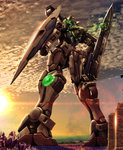armor commentary_request gundam gundam_00 gundam_exia hiropon_(tasogare_no_puu) machinery mecha no_humans outdoors photo_background shield sky standing sun sword weapon