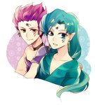 2boys :d androgynous aqua_hair bishoujo_senshi_sailor_moon blue_eyes choker closed_mouth earrings facial_mark fish_eye_(sailor_moon) forehead_jewel hawk_eye_(sailor_moon) jewelry long_hair low-tied_long_hair male_focus multiple_boys open_mouth pink_hair pointy_ears short_hair smile sugu0v0 unmoving_pattern upper_body yellow_eyes