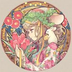 1girl animal animal_ears artist_name beige_background blonde_hair bouquet camellia cheese chin_strap closed_mouth floral_background floral_print flower food frilled_sleeves frills from_side grey_eyes hair_ornament hair_ribbon head_wreath holding holding_bouquet japanese_clothes jewelry kimono lace long_sleeves looking_away mouse mouse_ears n_kamui necklace original pendant portrait profile red_flower ribbon rose_print round_image signature smile solo star starry_background swiss_cheese tulip twitter_username yellow_ribbon