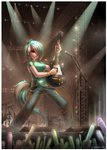 1girl artist_name blush bracelet breasts brown_eyes closed_mouth commission denim drum drum_set emperpep glowstick green_hair green_shirt guitar hair_over_one_eye holding holding_instrument horn instrument jeans jewelry looking_away lyra_heartstrings medium_breasts microphone microphone_stand multicolored_hair my_little_pony my_little_pony_friendship_is_magic pants personification shirt short_hair short_sleeves signature smile solo standing subwoofer tail white_hair