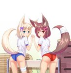 2girls :3 absurdres animal_ears arm_up ass bandages blonde_hair blue_buruma blue_eyes bow brown_eyes brown_hair buruma commentary_request dog_ears dog_tail from_behind gym_storeroom hair_bow hair_ornament highres holding_hands kemo_(pokka) korean_commentary long_tail looking_back mat multiple_girls open_mouth original red_buruma ribbon shirt short_hair smile tail vaulting_horse white_shirt