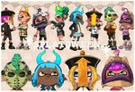 4boys 4girls blazer blush_stickers chinese_hat dark_skin demon_horns fake_horns green_hair halloween halloween_costume hat hockey_mask horns inkling jacket jiangshi mask multiple_boys multiple_girls octoling ofuda orange_hair pointy_ears purple_hair red_hair sandals shoes short_hair short_shorts shorts skirt sneakers splatoon_(series) splatoon_2 suction_cups tentacle_hair yuta_agc