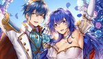 1boy 1girl bare_shoulders blue_eyes blue_hair blush bouquet breasts bridal_veil bride cape cleavage couple dress elbow_gloves fire_emblem fire_emblem:_monshou_no_nazo flower formal gloves hair_flower hair_ornament hetero husband_and_wife jewelry large_breasts long_hair looking_at_viewer marth necklace pegasus_knight sheeda short_hair smile solo strapless strapless_dress suit tiara tuxedo veil wanini wedding wedding_dress white_dress