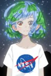 1girl :3 artist_name blue_hair brown_eyes collarbone commentary earth-chan green_hair highres looking_at_viewer making_of multicolored_hair nasa_logo nyanafk original shirt short_hair smile solo t-shirt two-tone_hair upper_body