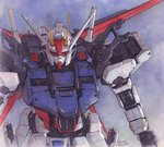 absurdres aile_strike_gundam artist_name commentary gundam gundam_seed hector_trunnec highres mecha no_humans traditional_media watercolor_(medium)