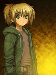 1girl blonde_hair cal_devens child green_eyes highres hoodie looking_at_viewer phantom_of_inferno rustle short_hair solo