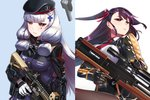 assault_rifle bangs blunt_bangs bullpup commentary cosplay eyebrows_visible_through_hair female_admiral_(kantai_collection) girls_frontline gloves gun h&k_hk416 hair_ribbon hiememiko highres hk416_(girls_frontline) hk416_(girls_frontline)_(cosplay) holding holding_gun holding_weapon kantai_collection long_hair murakumo_(kantai_collection) necktie purple_hair ribbon rifle sniper_rifle wa2000_(girls_frontline) wa2000_(girls_frontline)_(cosplay) walther walther_wa_2000 weapon