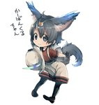 1girl animal_ears backpack bag black_eyes black_hair black_legwear bucket_hat carbuncle_(final_fantasy) chibi extra_ears final_fantasy hair_between_eyes hat hat_feather hat_removed headwear_removed holding holding_hat japari_symbol kaban_(kemono_friends) kemono_friends kemonomimi_mode looking_at_viewer pantyhose pantyhose_under_shorts pigeon-toed pun short_hair simple_background smile solo tail translated white_background yutsu