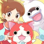 1boy amano_keita blush_stickers brown_eyes brown_hair cat fangs ghost jibanyan lowres mei_(maysroom) multiple_tails notched_ear open_mouth purple_lips red_shirt shirt short_hair simple_background star t-shirt tail two_tails whisper_(youkai_watch) yellow_background youkai youkai_watch