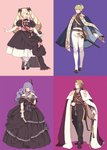 2boys 2girls ai-wa black_dress black_ribbon blonde_hair blue_background blush boots breasts brother_and_sister brothers camilla_(fire_emblem_if) cape cleavage closed_mouth dress drill_hair elbow_gloves elise_(fire_emblem_if) european_clothes fan feather_hair_ornament fire_emblem fire_emblem_heroes fire_emblem_if flower formal gloves hair_between_eyes hair_ornament hair_over_one_eye hair_ribbon hairband hand_on_back highres jewelry leon_(fire_emblem_if) looking_at_viewer marks_(fire_emblem_if) multicolored multicolored_background multiple_boys multiple_girls one_eye_closed one_eye_covered open_mouth pink_background pink_ribbon purple_background purple_eyes purple_flower purple_hair purple_rose ribbon rose sheath sheathed siblings sisters smile sword twin_drills twintails weapon