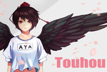 1girl alternate_costume black_wings breasts brown_hair character_name cherry_blossoms copyright_name feathered_wings gradient gradient_background grey_background hat highres looking_at_viewer parted_lips petals pink_lips red_eyes shameimaru_aya shirt short_hair short_sleeves solo tokin_hat touhou upper_body white_shirt wind wings yongzhe_mei_hong