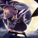 +5cm 1girl adjusting_clothes adjusting_hat blonde_hair blouse bow braid broom broom_riding crescent_moon flying hair_ribbon hat hat_bow juliet_sleeves kirisame_marisa long_hair long_sleeves looking_back moon night night_sky open_mouth puffy_sleeves ribbon shoes skirt skirt_set sky solo star_(sky) starry_sky thighhighs touhou twin_braids vest witch_hat yellow_eyes zettai_ryouiki