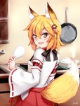1girl :d absurdres animal_ear_fluff animal_ears apron bangs blonde_hair blush brown_apron brown_hair chrisandita commentary eyebrows_visible_through_hair fang flower fox_ears fox_girl fox_tail frying_pan hair_between_eyes hair_flower hair_ornament highres holding indoors japanese_clothes kimono kitchen long_sleeves looking_at_viewer looking_back open_mouth red_flower red_hair ribbon-trimmed_sleeves ribbon_trim senko_(sewayaki_kitsune_no_senko-san) sewayaki_kitsune_no_senko-san signature smile solo stove tail tail_raised v-shaped_eyebrows white_kimono wide_sleeves