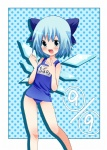 1girl :d bad_id bad_pixiv_id blue_hair bow child cirno hair_bow no_nose one-piece_swimsuit open_mouth oshiruko_(tsume) polka_dot polka_dot_background school_swimsuit short_hair smile solo swimsuit touhou wings
