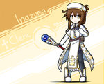 1girl boots brown_hair commentary_request dungeons_and_dragons folded_ponytail gloves hat highres holding holding_staff inazuma_(kantai_collection) kantai_collection pantyhose raythalosm robe short_hair skirt solo staff