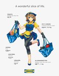 1girl absurdres apron bag black_gloves black_pants blue_eyes blue_footwear blush brown_hair calamaripop collared_shirt commentary english_text flats flower flower_ornament gloves head_scarf highres holding holding_bag ikea jam jar looking_at_viewer md5_mismatch pants personification shirt shoes short_sleeves simple_background smile solo standing standing_on_one_leg swedish_flag towel white_background yellow_apron yellow_shirt