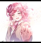 1girl :d aicedrop bangs blurry blurry_foreground blush closed_eyes commentary_request depth_of_field doki_doki_literature_club facing_viewer grey_jacket hair_ornament hair_ribbon hairclip hand_up happy holding_hands interlocked_fingers jacket letterboxed long_sleeves natsuki_(doki_doki_literature_club) open_mouth pink_hair pov pov_hands red_ribbon ribbon school_uniform short_hair signature simple_background smile solo_focus swept_bangs two_side_up upper_body white_background
