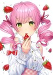 1girl bangs blush center_frills collared_shirt commentary daidai_jamu dress_shirt drill_hair earrings eyebrows_visible_through_hair flower flower_earrings food frills fruit gingham green_eyes hair_between_eyes hair_ribbon hand_up high-waist_skirt highres holding holding_food holding_fruit jewelry lace-trimmed_collar lace-trimmed_sleeves long_sleeves looking_at_viewer original parted_lips pink_hair puffy_long_sleeves puffy_sleeves red_ribbon red_skirt ribbon shirt shoulder_cutout skirt solo strawberry strawberry_blossoms twin_drills twintails upper_body water_drop white_flower white_shirt