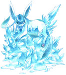 aqua blue_eyes commentary commentary_request creature gen_4_pokemon glaceon ibui_matsumoto ice looking_at_viewer lying marker_(medium) no_humans on_stomach pokemon pokemon_(creature) solo traditional_media watercolor_pencil_(medium) white_background