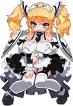 1girl apron arm_grab black_footwear black_neckwear blonde_hair blush brave_sword_x_blaze_soul breasts detached_collar detached_sleeves eyebrows_visible_through_hair full_body garter_straps headdress large_breasts long_hair looking_at_viewer maid maid_apron maid_headdress necktie official_art open_mouth showgirl_skirt simple_background solo strappy_heels thighhighs twintails white_background white_legwear wings yellow_eyes zankuro