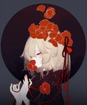1girl absurdres blonde_hair closed_eyes covered_mouth eyeshadow flower flower_on_head from_side hair_flower hair_ornament hair_ribbon highres japanese_clothes kimono makeup mouth_hold nail_polish profile red_flower red_ribbon ribbon rumia short_hair solo touhou upper_body zhixie_jiaobu