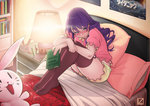 1girl alarm_clock bed bed_sheet blanket blouse blush book bookshelf bunny clock doll drawer floral_print flower hair_down hair_flower hair_ornament kizana_sunobu kjech lamp phone pillow pink_blouse poster_(object) purple_eyes purple_hair romeo_and_juliet rose shorts sweatdrop yandere_simulator