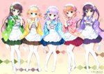 5girls alternate_costume apron aqua_eyes bangs blonde_hair blue_eyes blue_flower blue_kimono blue_ribbon blue_skirt blunt_bangs blush breasts brown_hair brown_skirt checkered checkered_kimono circle_name closed_mouth commentary_request copyright_name eyebrows_visible_through_hair flat_chest floral_print flower full_body gochuumon_wa_usagi_desu_ka? gradient gradient_background green_eyes green_flower green_kimono green_skirt hair_between_eyes hair_flower hair_ornament hairclip hoto_cocoa japanese_clothes kafuu_chino kimono kimono_skirt kirima_sharo light_blue_hair long_hair long_sleeves looking_at_viewer maid_apron maid_headdress matching_outfit multiple_girls no_shoes orange_hair pink_flower pink_kimono pleated_skirt print_kimono purple_eyes purple_hair purple_kimono purple_ribbon purple_skirt red_ribbon red_skirt ribbon santa_matsuri shadow short_hair sidelocks skirt sleeves_past_wrists small_breasts smile standing star star_print tedeza_rize thighhighs twintails two-tone_background ujimatsu_chiya wa_maid wavy_hair white_apron white_flower white_legwear wide_sleeves x_hair_ornament yellow_flower yellow_kimono
