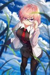 1girl adjusting_eyewear angry baisi_shaonian bangs black-framed_eyewear black_dress black_legwear blue_sky cloud cloudy_sky day dress eyebrows_visible_through_hair eyes_visible_through_hair fate/grand_order fate_(series) glasses grass hair_over_one_eye hand_on_hip highres hood hoodie looking_at_viewer mash_kyrielight open_clothes open_hoodie outdoors pantyhose pink_hair pleated_dress pleated_skirt purple_eyes short_dress short_hair skirt sky solo standing