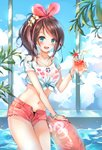 1girl :d a.i._channel bangle bikini blue_eyes bracelet brown_hair cloud cloudy_sky collarbone crop_top cup drinking_glass drinking_straw flower front-tie_top hair_flower hair_ornament hairband halter_top halterneck highres holding holding_cup hurricane_glass innertube jewelry kizuna_ai long_hair looking_at_viewer midriff multicolored_hair munape navel necklace open_fly open_mouth pink_bikini pink_shorts ponytail red_flower see-through shirt short_shorts short_sleeves shorts sky smile solo streaked_hair swimsuit thighs virtual_youtuber water wet wet_clothes wet_shirt white_shirt