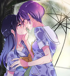 2girls blue_eyes blue_hair dokidoki!_precure eye_contact eyebrows_visible_through_hair from_side hand_on_another's_chin hishikawa_rikka imminent_kiss kenzaki_makoto kiss long_hair looking_at_another multiple_girls negom oogai_daiichi_middle_school_uniform outdoors parted_lips precure purple_eyes purple_hair rain saliva saliva_trail school_uniform serafuku shirt short_hair short_sleeves standing transparent_umbrella tree umbrella wet wet_clothes wet_shirt yuri