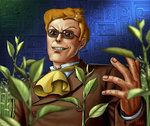 1boy :d ascot bald brown_jacket business_suit buttons cat commentary_request dated evil_grin evil_smile fingernails formal grin jacket leaf long_sleeves looking_at_viewer male_focus matataku muska open_mouth orange_fur parted_lips plant signature smile solo suit sunglasses tenkuu_no_shiro_laputa v-shaped_eyebrows yellow_neckwear