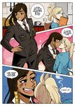 2girls bangs bilingual black_eyes blonde_hair blue_eyes blush blush_stickers brown_hair casual comic commentary couple dark_skin embarrassed english_commentary english_text eye_of_horus facial_tattoo german_text grin highres interracial mercy_(overwatch) military military_uniform multiple_girls necktie necktie_grab neckwear_grab overwatch pharah_(overwatch) ponytail smile superrisu swept_bangs tattoo thick_eyebrows uniform yuri