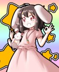 1girl animal_ears black_hair bunny bunny_ears carrot dress grin inaba_tewi jewelry necklace pendant pink_dress puffy_short_sleeves puffy_sleeves red_eyes roco_(katsuya1011) short_sleeves smile solo star touhou