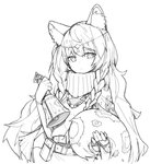 1girl absurdres animal_ear_fluff animal_ears arknights bangs bell belt_buckle belt_pouch braid buckle cape commentary cowboy_shot errorer1980 headpiece highres holding_bell holding_tail jewelry leopard_ears leopard_tail long_hair looking_at_viewer monochrome necklace pouch pramanix_(arknights) side_braids solo sweater tail turtleneck turtleneck_sweater twin_braids very_long_hair white_background
