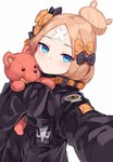 1girl :t abigail_williams_(fate/grand_order) bangs black_bow black_jacket blonde_hair blue_eyes blush bow closed_mouth commentary_request crossed_bandaids eyebrows_visible_through_hair fate/grand_order fate_(series) hair_bow hair_bun heroic_spirit_traveling_outfit highres jacket long_hair long_sleeves looking_at_viewer ndgd object_hug orange_bow outstretched_arm parted_bangs reaching_out self_shot simple_background sleeves_past_fingers sleeves_past_wrists solo stuffed_animal stuffed_toy teddy_bear upper_body white_background