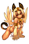 1girl 31107029 all_fours animal_ears blonde_hair bracelet breasts character_request cleavage dark_skin ear_piercing earrings egyptian hairband highres jewelry loincloth monster_girl neck_ring necklace o-ring_top paws piercing puzzle_&_dragons short_hair smile snake snake_tail solo sphinx wings yellow_eyes
