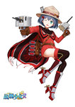 1girl ;d belt belt_buckle black_legwear blue_hair blush brown_gloves buckle buttons cannon cape commentary copyright_name full_body gloves green_eyes haida_(warship_girls_r) hair_ornament hairclip hat holding holding_weapon jacket jiaoshouwen lifebuoy long_sleeves looking_at_viewer machinery mountie no_pants official_art one_eye_closed open_mouth propeller red_jacket rigging rudder_footwear short_hair smile smokestack solo thighhighs torpedo turret warship_girls_r weapon white_background