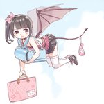1girl :o backpack bag bangs bat_wings black_footwear black_hair black_legwear black_skirt blunt_bangs bow breasts brown_eyes camisole carrying cleavage commentary demon_girl demon_tail flying full_body hair_bow handbag highres holding holding_bag legs_together looking_back miniskirt original pink_bow pleated_skirt polka_dot polka_dot_bow pouch randoseru rojiko shoes side_ponytail skirt sleeveless small_breasts sneakers solo tail tail_hold thighhighs transparent_wings white_legwear wings zettai_ryouiki
