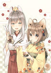 2girls :d :t ahoge animal animal_ears animal_on_head animal_on_shoulder arrow bangs bell bird blue_eyes bowl breasts brown_eyes brown_hair checkered checkered_background chick chick_on_head chinese_zodiac chopsticks closed_mouth commentary_request dog_ears eating ema eyebrows_visible_through_hair floral_background floral_print food gradient gradient_background hair_between_eyes hakama half-closed_eyes hamaya holding holding_arrow holding_bowl holding_chopsticks japanese_clothes jingle_bell kimono large_breasts long_hair looking_at_viewer midorikawa_you miko mochi mochi_trail multiple_girls new_year obi on_head on_shoulder open_mouth original print_kimono revision sash short_hair silver_hair small_breasts smile tail wagashi wide_sleeves year_of_the_rooster yellow_kimono zouni_soup