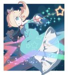 1girl :o blonde_hair blue_dress blue_eyes bright_pupils brooch crown dress earrings grey_footwear hair_over_one_eye high_heels holding holding_wand jewelry long_sleeves mario_(series) omochi_(glassheart_0u0) open_mouth rosalina shoes solo star star_print super_mario_galaxy wand white_pupils
