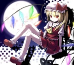 1girl bad_id bad_pixiv_id blonde_hair bobby_socks flandre_scarlet full_moon hat laevatein mary_janes moon open_mouth ponytail red_eyes shoes short_hair side_ponytail sitting socks solo touhou tsukumizu_yuu wings