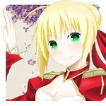 1girl ahoge blonde_hair breasts dress epaulettes fate/extra fate_(series) flower green_eyes lowres red_dress saber_extra solo tsumikino